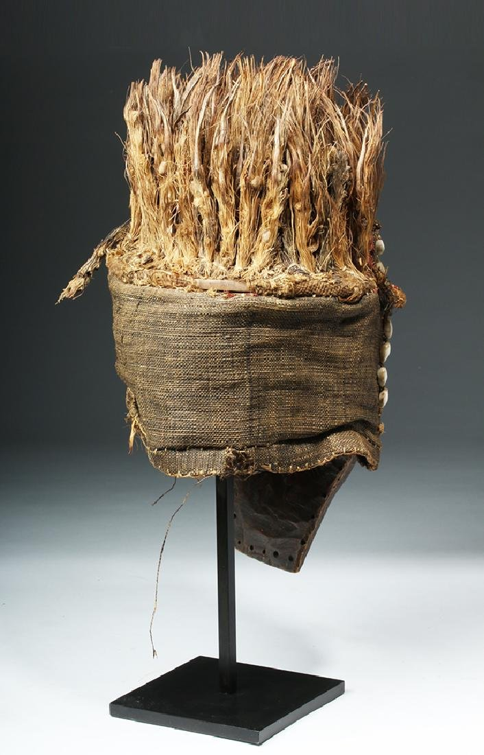 African Lele Wood Mask w/ Shells, Palm Fronds - 4