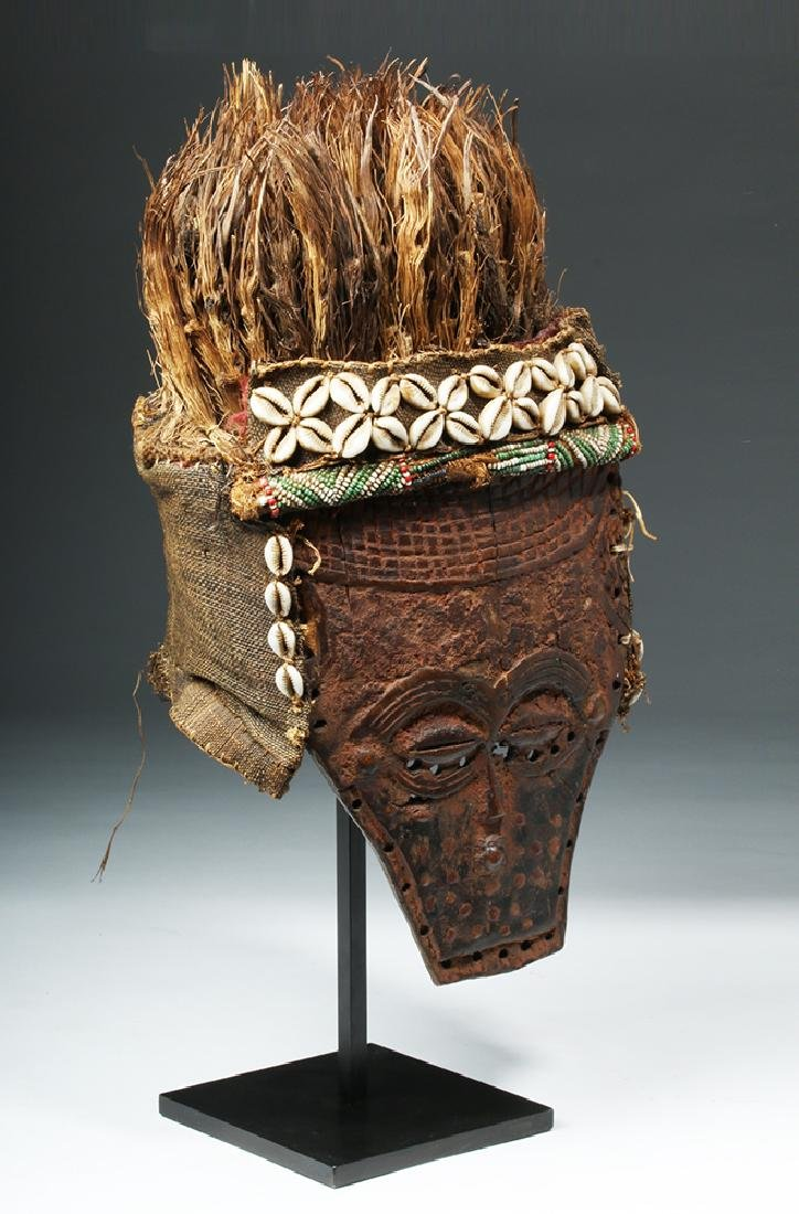 African Lele Wood Mask w/ Shells, Palm Fronds - 5
