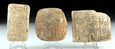 Lot of 3 Old Babylonian Clay Cuneiform Tablets