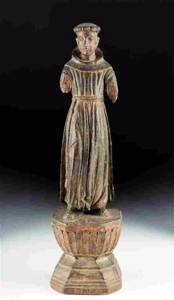 19th C. Mexican Wood Santo - St. Francis of Assisi