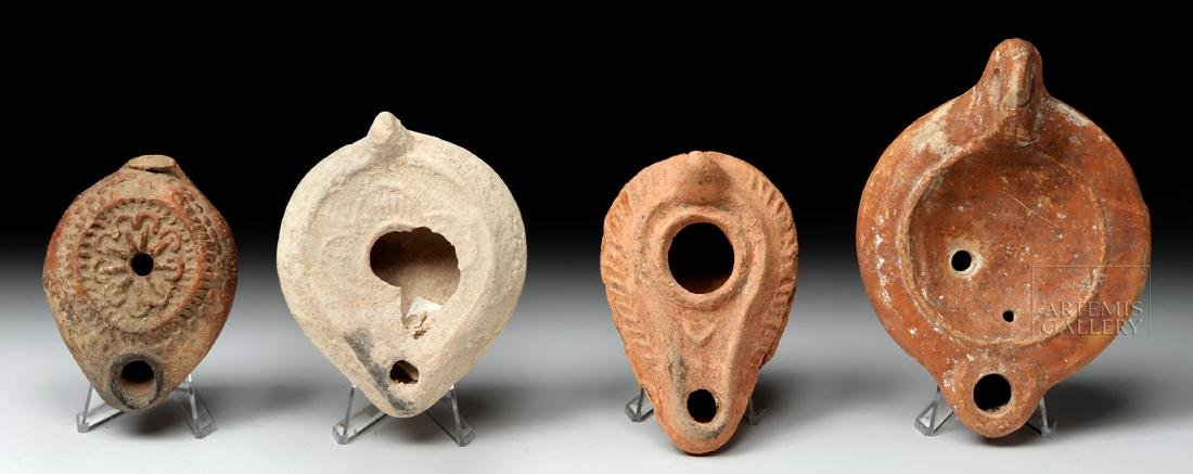 Four Ancient Holy Land Terracotta Oil Lamps