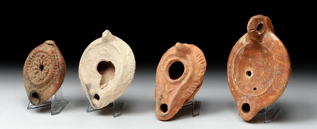 Four Ancient Holy Land Terracotta Oil Lamps - 2