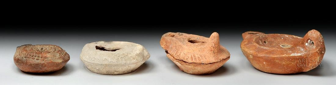 Four Ancient Holy Land Terracotta Oil Lamps - 3