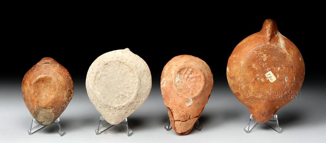 Four Ancient Holy Land Terracotta Oil Lamps - 4