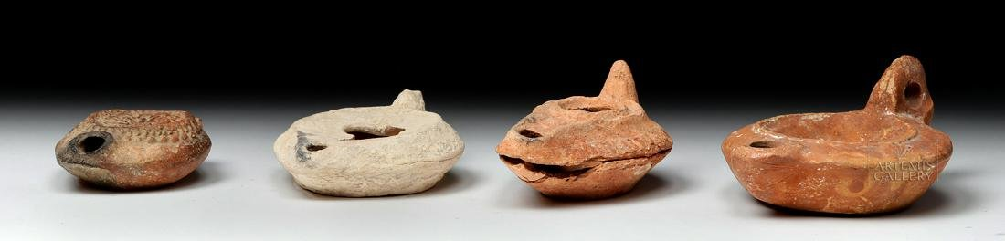 Four Ancient Holy Land Terracotta Oil Lamps - 5