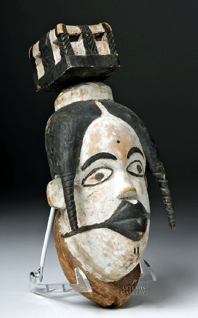 Early 20th C. African Ogoni Wooden Puppet Type Mask - 3