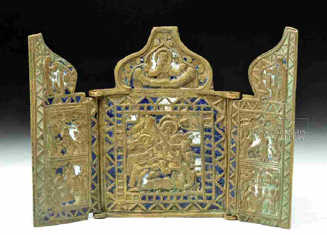 Late 18th C. Russian Brass Traveling Icon - St. George