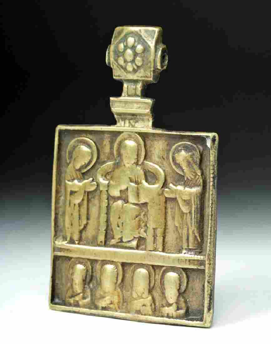 19th C. Russian Square Brass Traveling Icon
