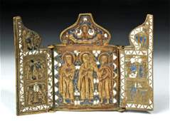 19th C. Russian Triptych Traveling Icon