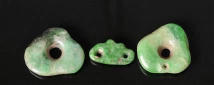 Trio of Mayan Jade Beads / Pendants
