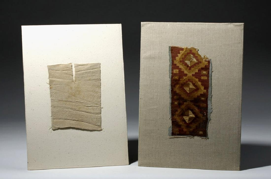 Chancay Textile Panel Pair - Cross Motif and Clothing