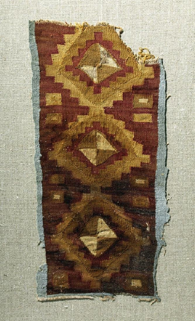 Chancay Textile Panel Pair - Cross Motif and Clothing - 3