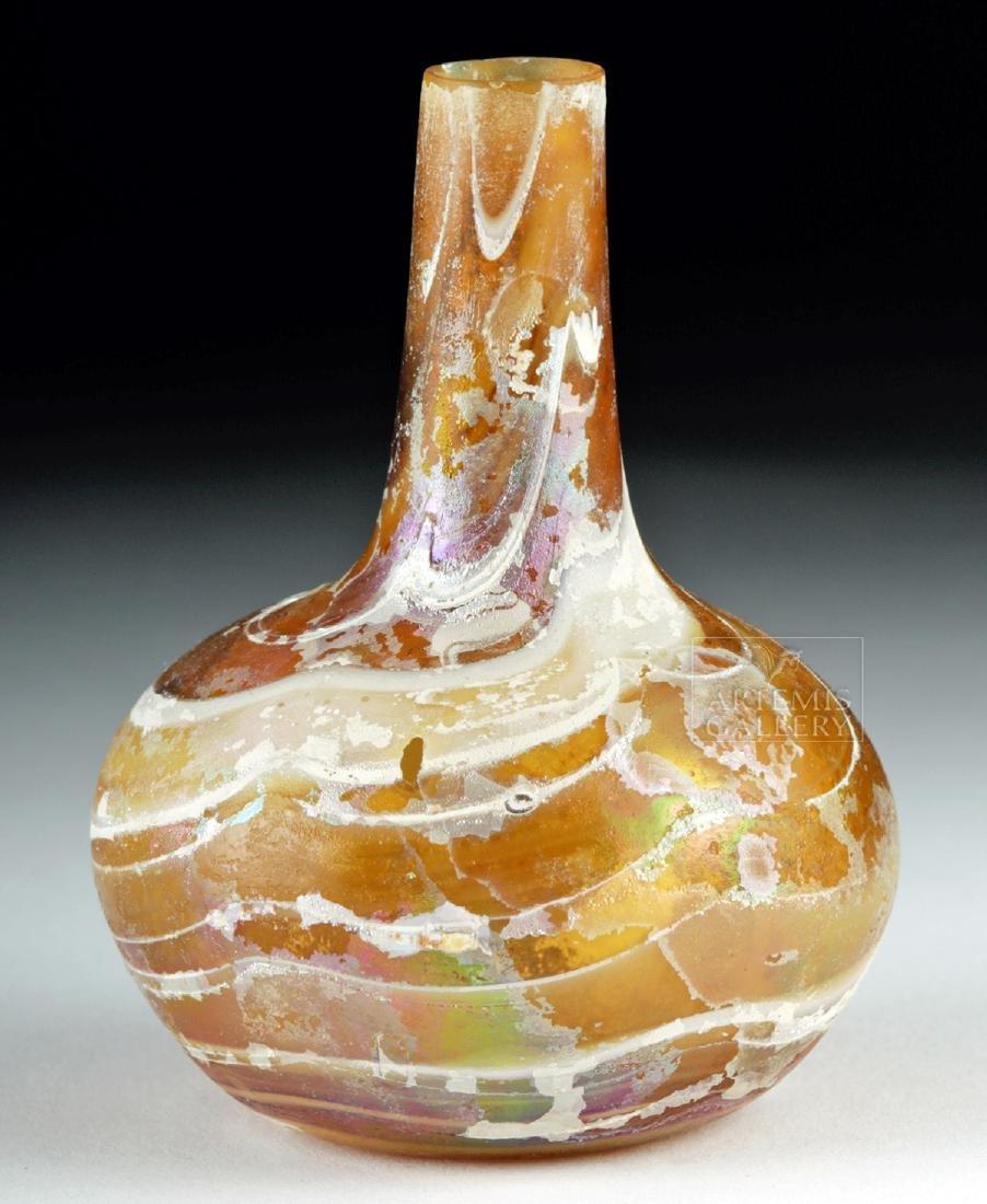 Pretty Roman Marbled Glass Flask - 4