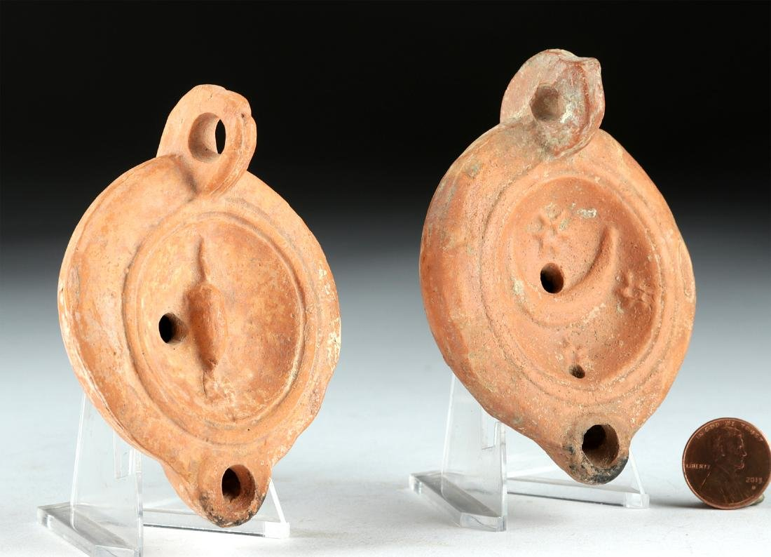 Lot of 2 Roman Pottery Oil Lamps, ex-Bonhams