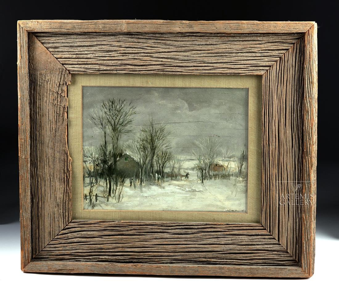 Signed / Framed Painting of Winter Scene - Dujardin