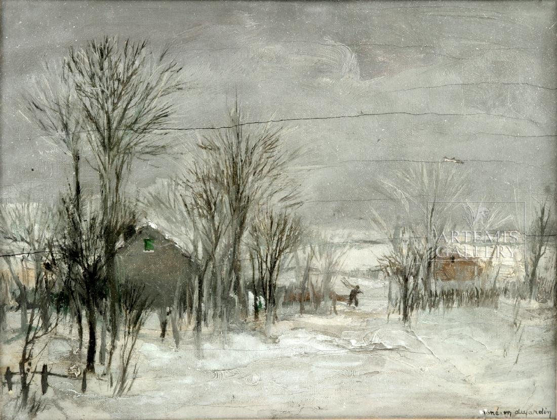 Signed / Framed Painting of Winter Scene - Dujardin - 2