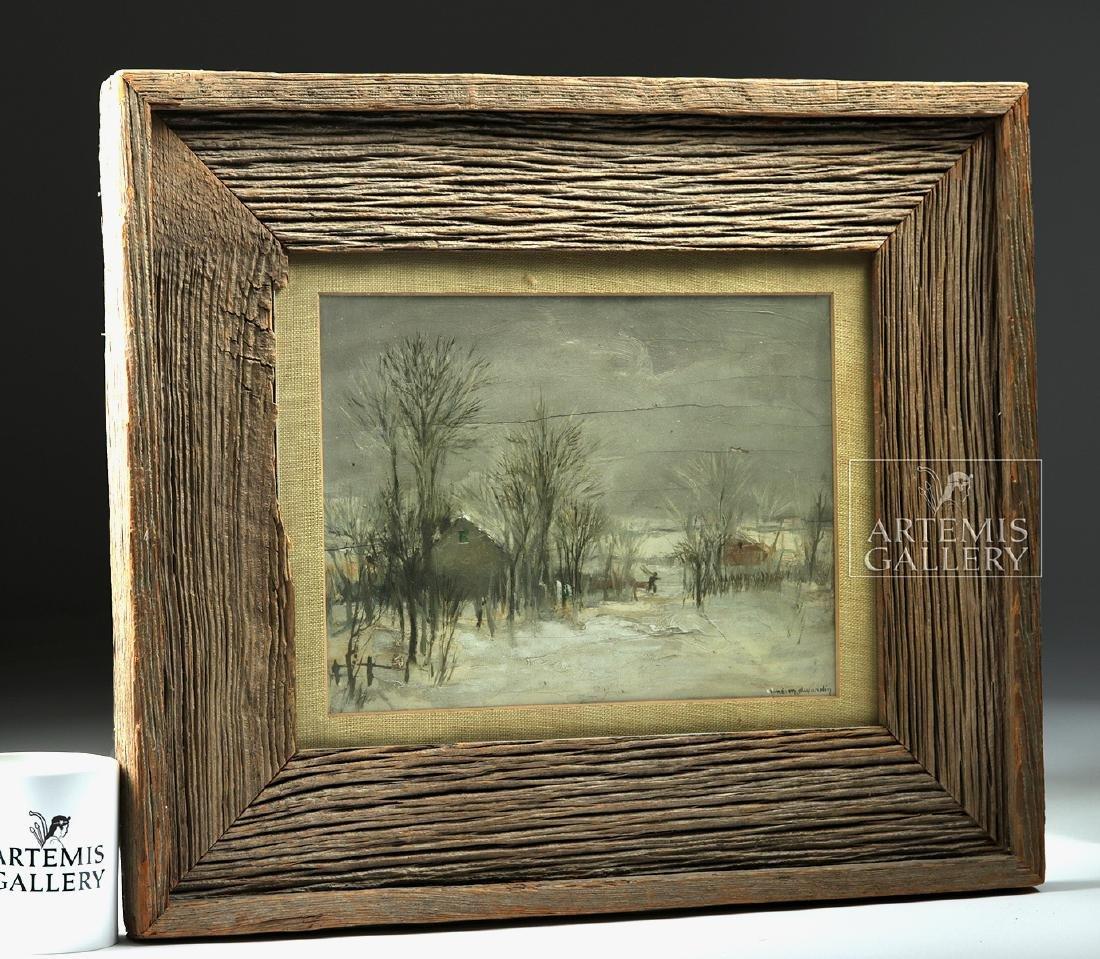 Signed / Framed Painting of Winter Scene - Dujardin - 4