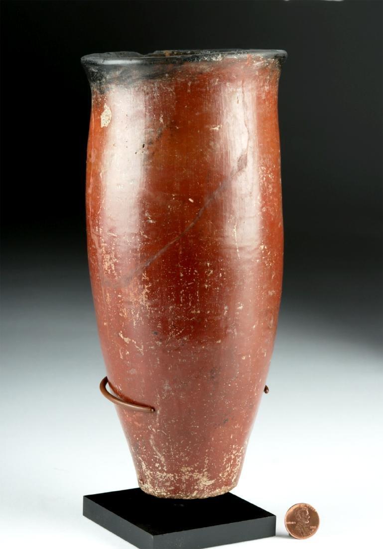 Tall Egyptian Naqada Blacktop Pottery Vessel