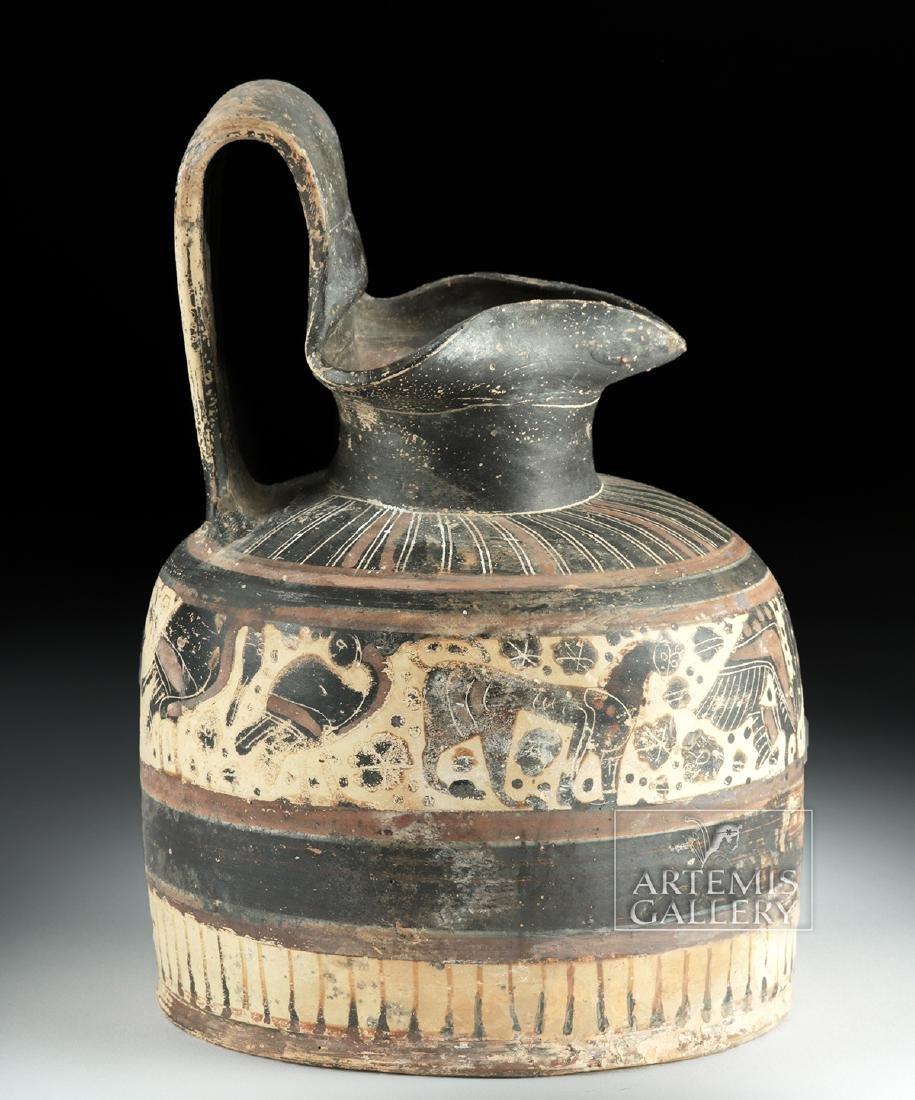 Corinthian Ceramic Trefoil Oinochoe - Harpies and Lions - 3
