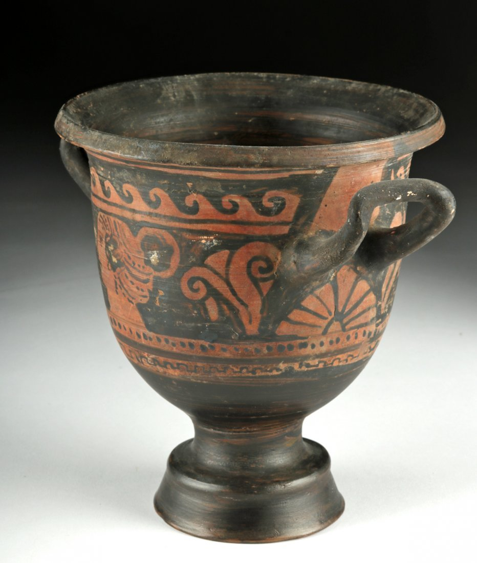 Greek Apulian Red-Figure Pottery Bell Krater - 2