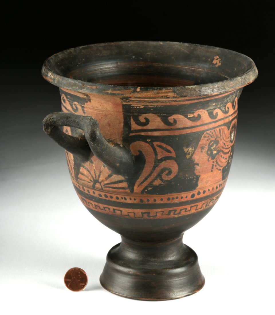 Greek Apulian Red-Figure Pottery Bell Krater - 3