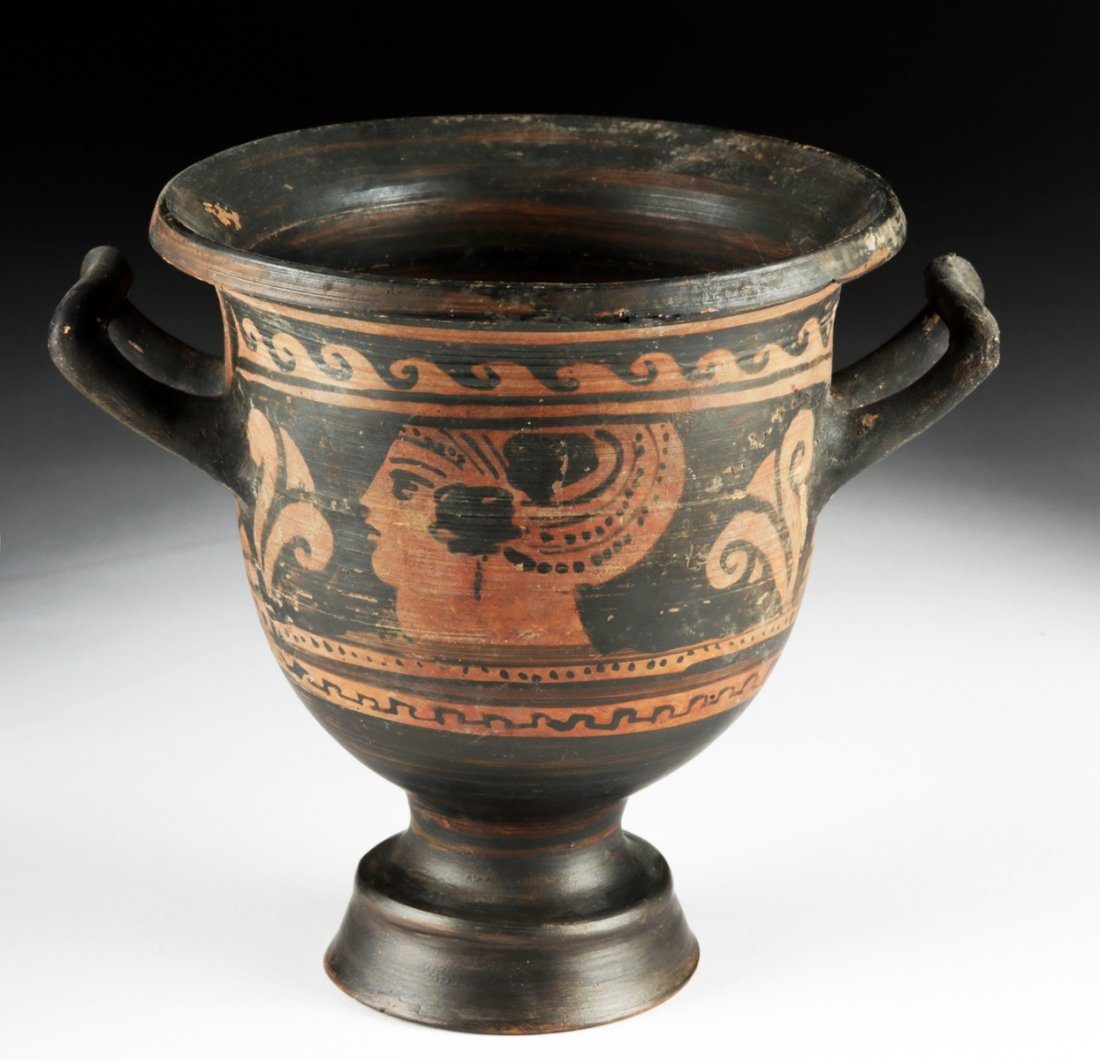 Greek Apulian Red-Figure Pottery Bell Krater - 4