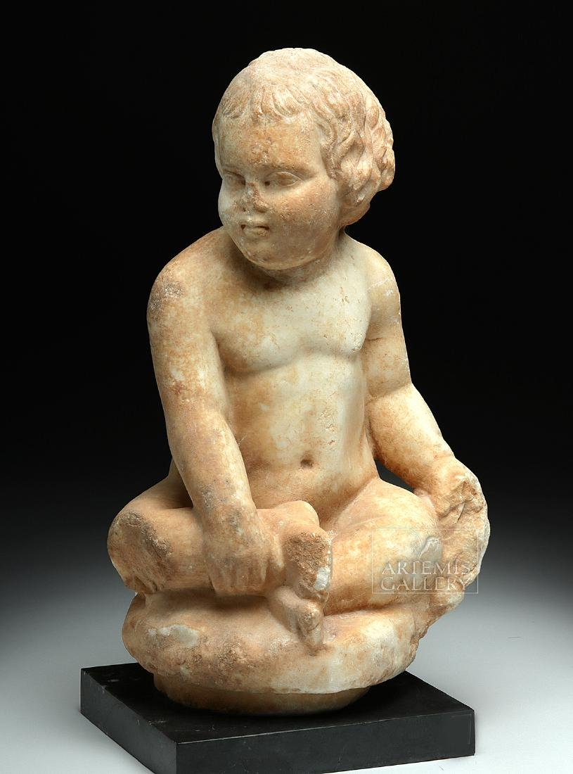 Published Roman Marble Seated Boy w/ Grapes