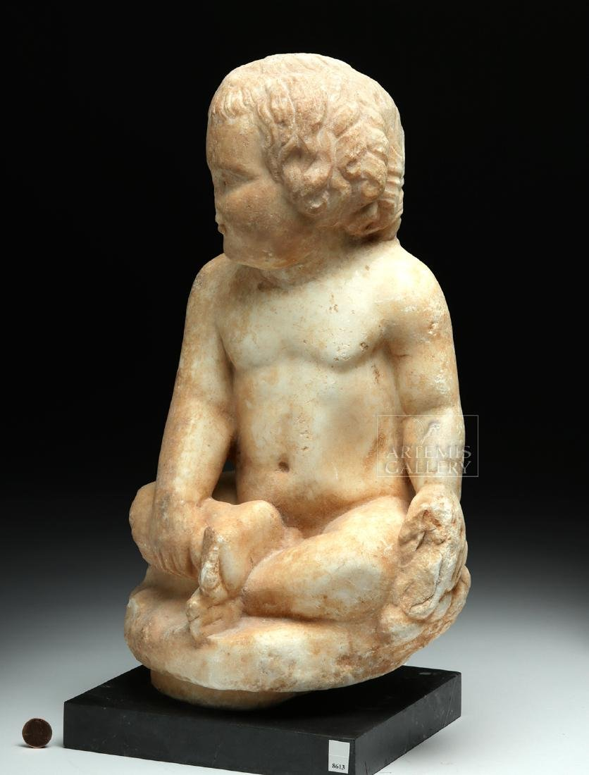 Published Roman Marble Seated Boy w/ Grapes - 2