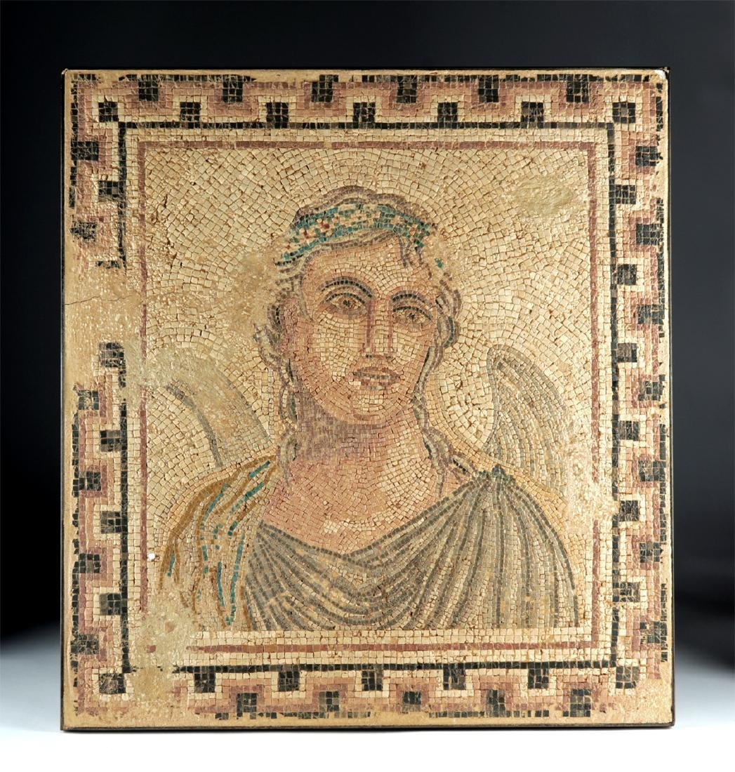 Ancient Roman Mosaic with Winged Cupid / Erote