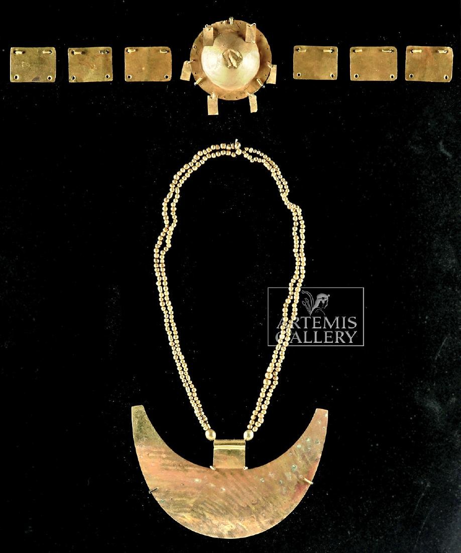 Chavin 18K+ Gold Crown & Necklace for a Lord-King - 2
