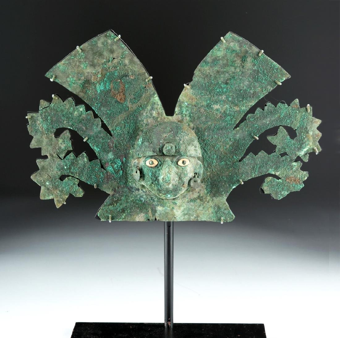 Important Moche Copper Headdress - Shell Eyes