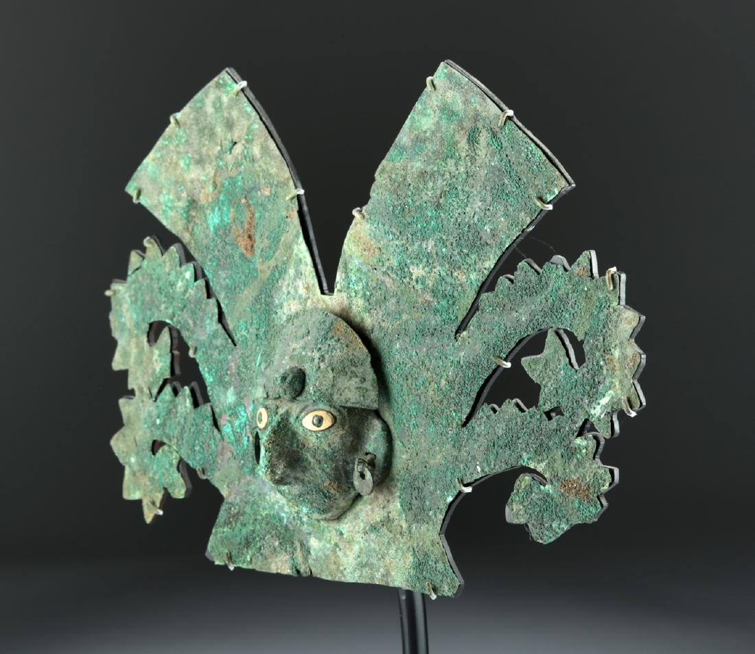 Important Moche Copper Headdress - Shell Eyes - 3