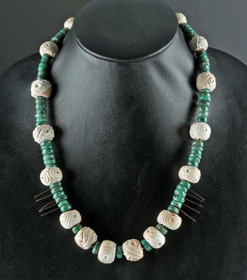 Rare Mayan Greenstone / Shell / Gold Necklace - 2