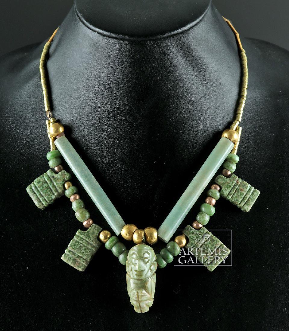 Mixtec Necklace - Gold / Copper & Greenstone
