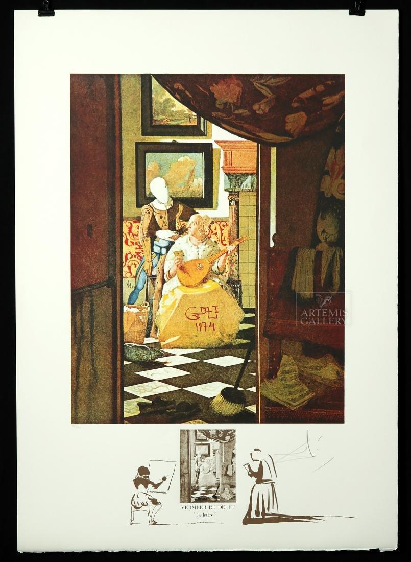 """Signed Dali Lithograph """"Vermeer de Delft..."""" - 1974"""