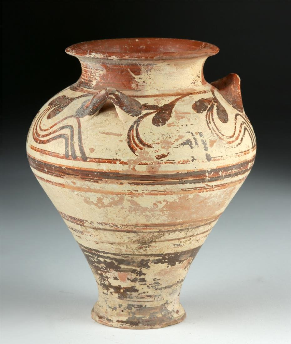 Fine Greek Mycenaean Bi-Chrome Pottery Pithos - 3