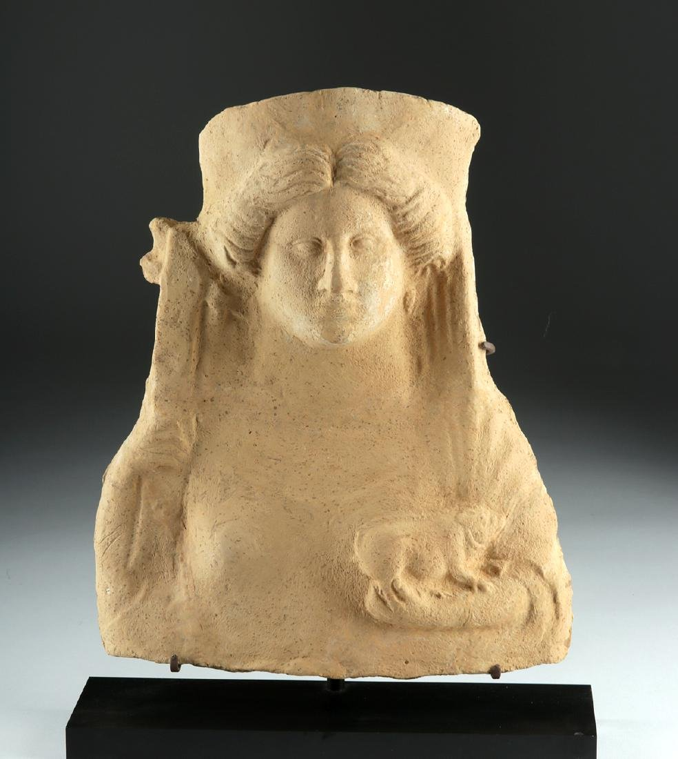 Large Greek Terracotta Protome of Circe & Pig
