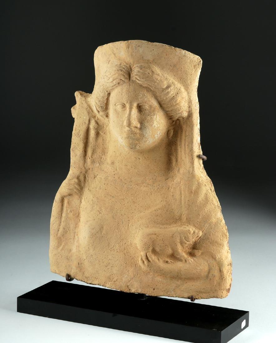 Large Greek Terracotta Protome of Circe & Pig - 2