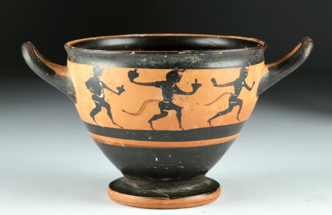 Published Greek Attic Black-Figure Skyphos – Satyrs