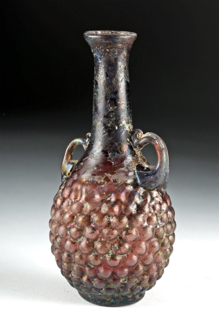 Published Roman Glass Grape Flask w/ Trail Handles - 2