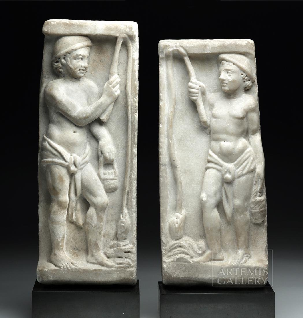Lot of 2 Roman Marble Sarcophagus Panels - Matched Pair