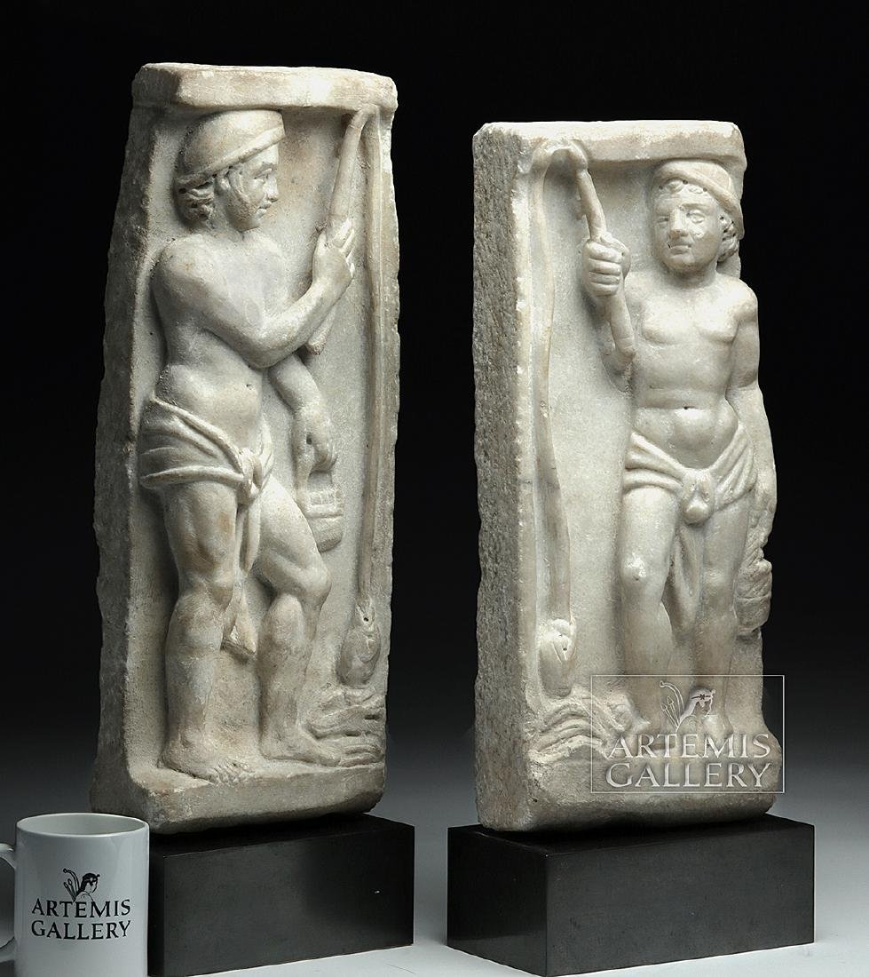 Lot of 2 Roman Marble Sarcophagus Panels - Matched Pair - 2