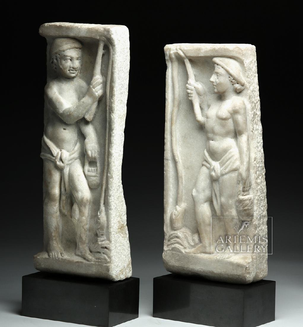 Lot of 2 Roman Marble Sarcophagus Panels - Matched Pair - 3