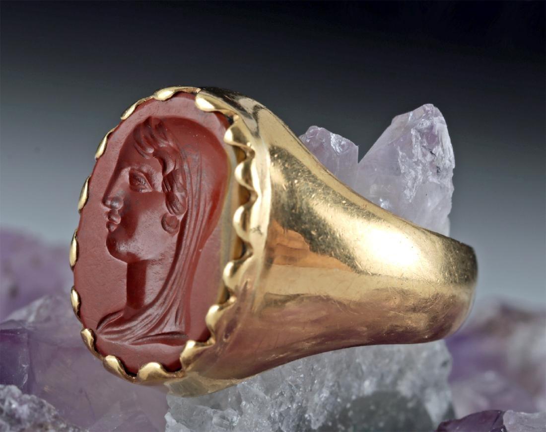 18K Gold Ring w/ Roman Jasper Intaglio of Woman