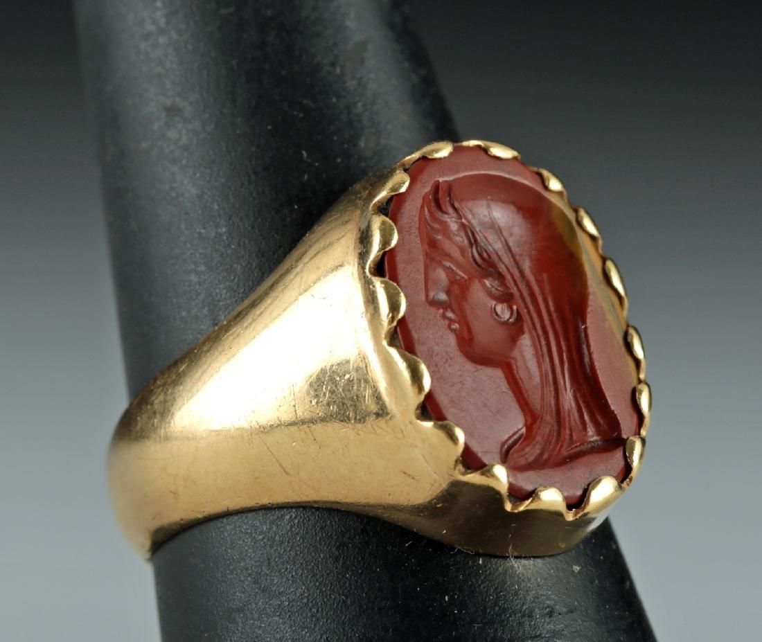 18K Gold Ring w/ Roman Jasper Intaglio of Woman - 2
