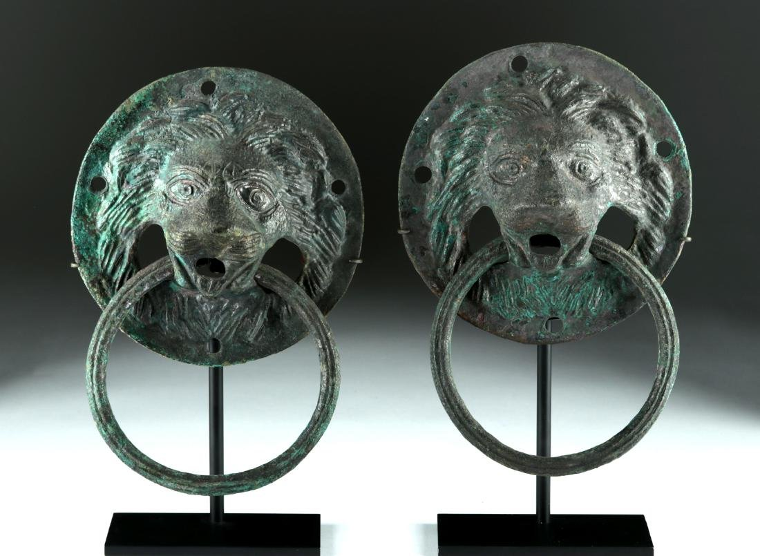 Matched Pair of Roman Copper Lion-Headed Handles - 2