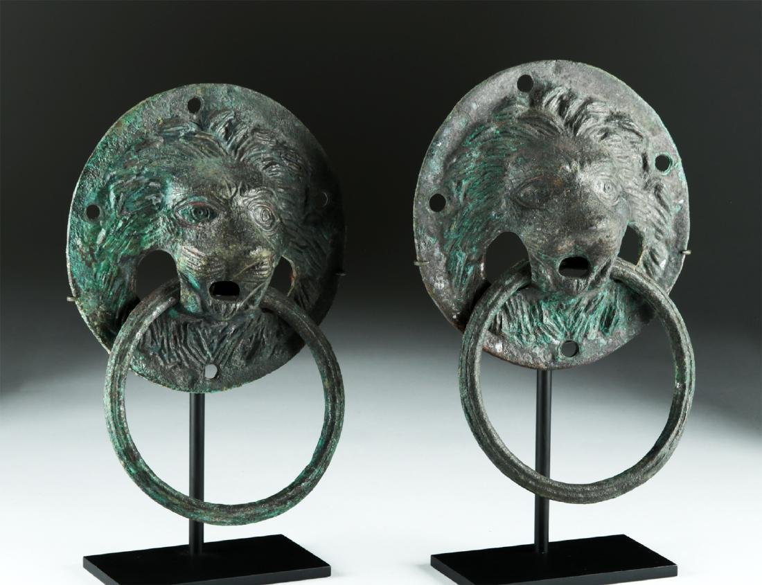 Matched Pair of Roman Copper Lion-Headed Handles - 3