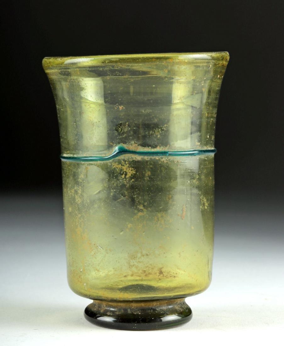 Roman Glass Cup w/ Blue Trailing