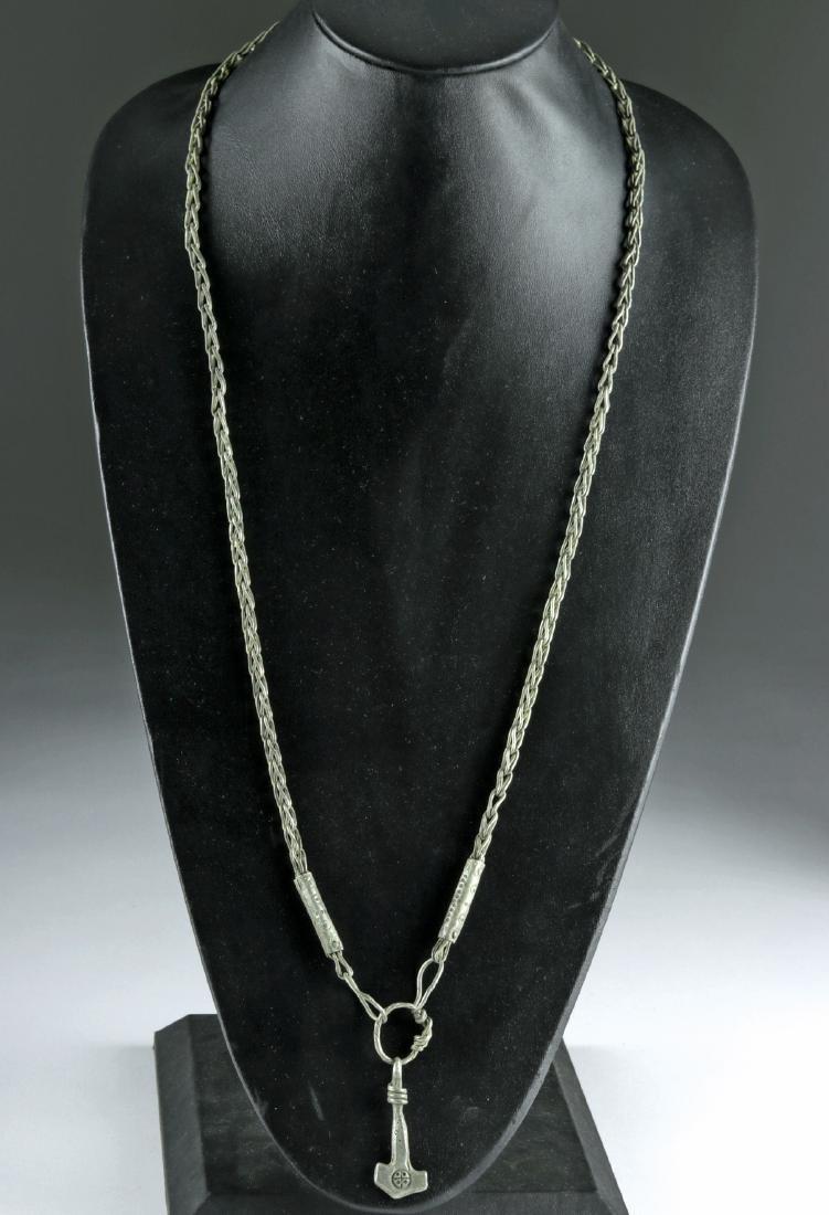 Viking Silver Necklace w/ Mjolnir Pendant, 72.4 g - 2