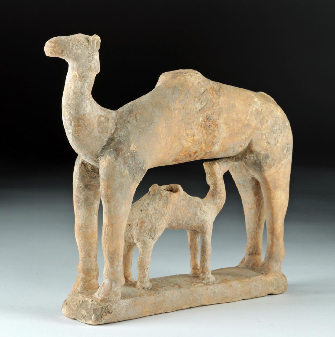 Rare S. Arabian Terracotta Camel and Baby